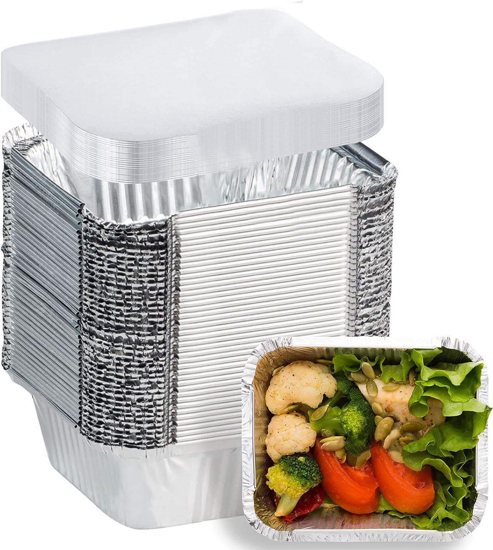 50 Pack Aluminum foil Pans Disposable Food Containers with Lids - 1 LB Heavy Duty Tin Foil Pans - 5.5
