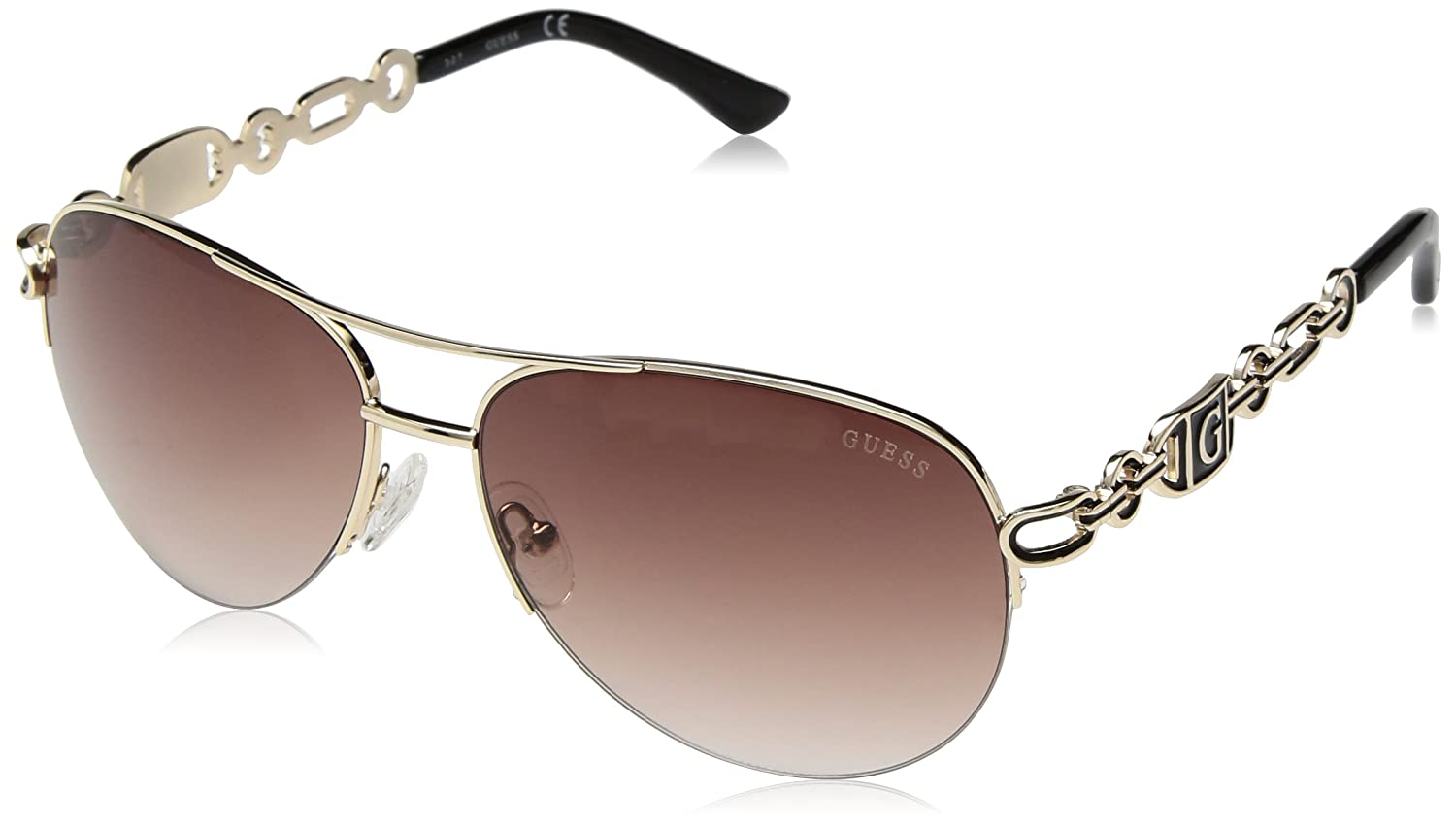 a250cacd05 Amazon.com  GUESS Women s GF0257 Gold Brown Gradient Lens One Size  Clothing