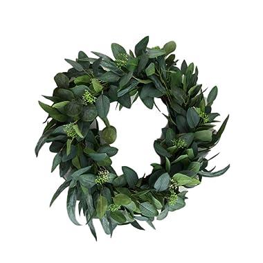 Hearth & Hand Magnolia Eucalyptus Artificial Wreath 24  Door Wall Window Wreath Greenery