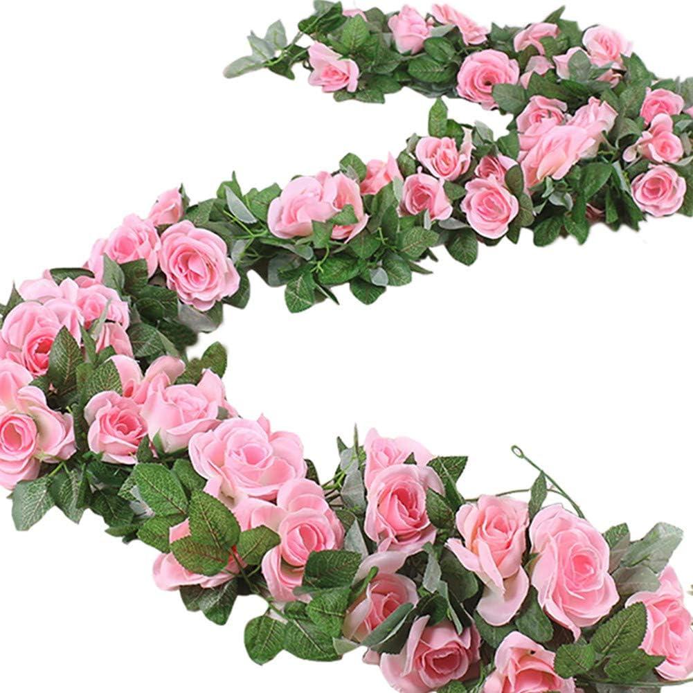 ELINSON 16 FT Fake Rose Vine Garland Artificial Flowers Plants Hanging Rose Ivy Home Hotel Office Wedding Party Garden Craft Art Décor (Pink/2PCS)