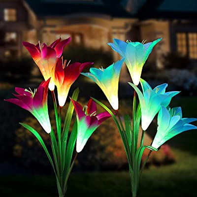 Tvird Outdoor Solar Garden Stake Lights,Solar Garden Lily Lights,2 Sets Solar Flowers with 8 Flowers,Multi-Colors Changing LED Decorative Lights Suit for Garden,Patio, Backyard(Purple and Blue): Home Improvement