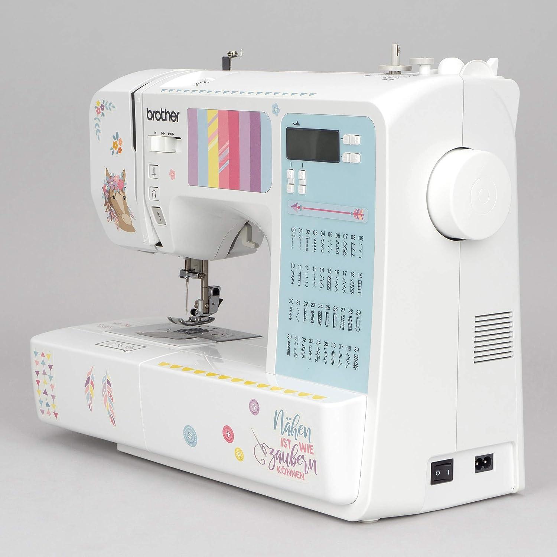 kullaloo M/áquina de Coser Principiantes y avanzados Brother FS-40 Edition Incluye Set de Costura Protector de Dedos y Pegatinas