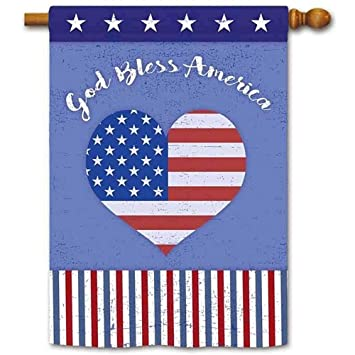 Amazoncom God Bless America Patriotic House Flag American Flag