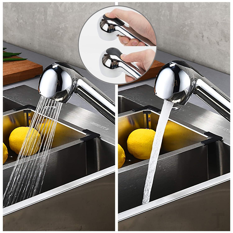 Grifo Cocina Extraible con Ca/ño Giratorio de 2 Modos TANBURO Grifo de cocina Mezclador de cocina giratorio de 360 /° ajustable en agua fr/ía y caliente