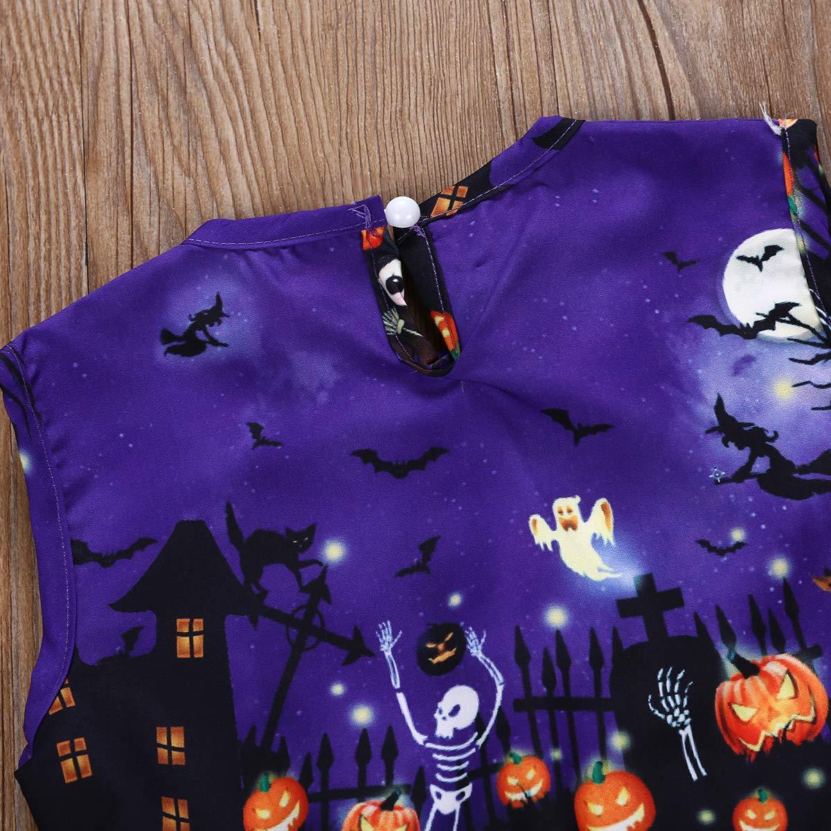 Toddler Baby Kids Girl Halloween Pumpkin Print Sleeveless Pleated Dress