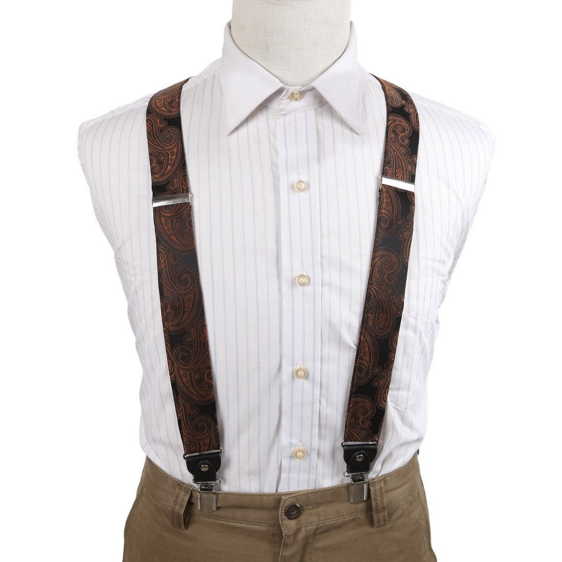 EFBB0045 Brown Patterned Extendable Microfiber Y-Back Suspenders Stainless Steel Clip Elegant Gift Giving By Epoint by Epoint (Image #2)