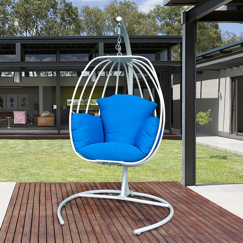 Egg Shaped Hanging Swing Chair with Cushions, Outdoor Patio Porch Swing With C Stand, Egg-shaped Hammock Swing Chair Single Seat (Navy Blue Cushion)