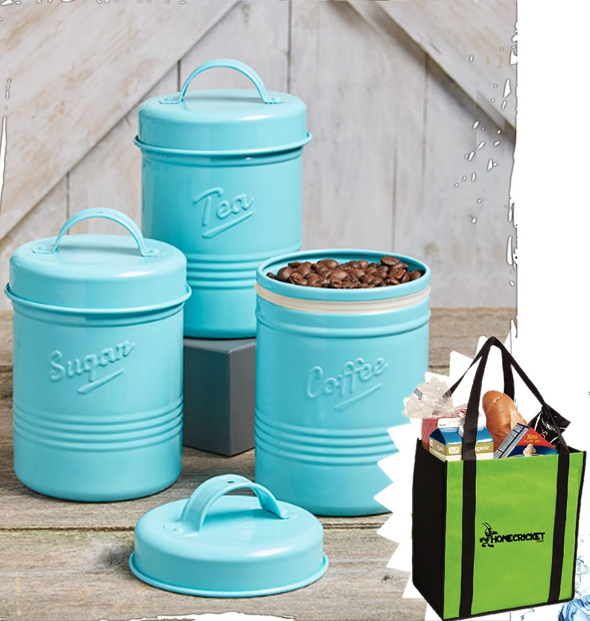 Gift Included- Country Kitchen Set Of 3 Antique Look Vintage Metal ''Tea'', ''Sugar'' ''Coffee'' Canisters + FREE Bonus Non-Woven Two-Tone Grocery, Beach Tote Bag by Homecricket (Blue)