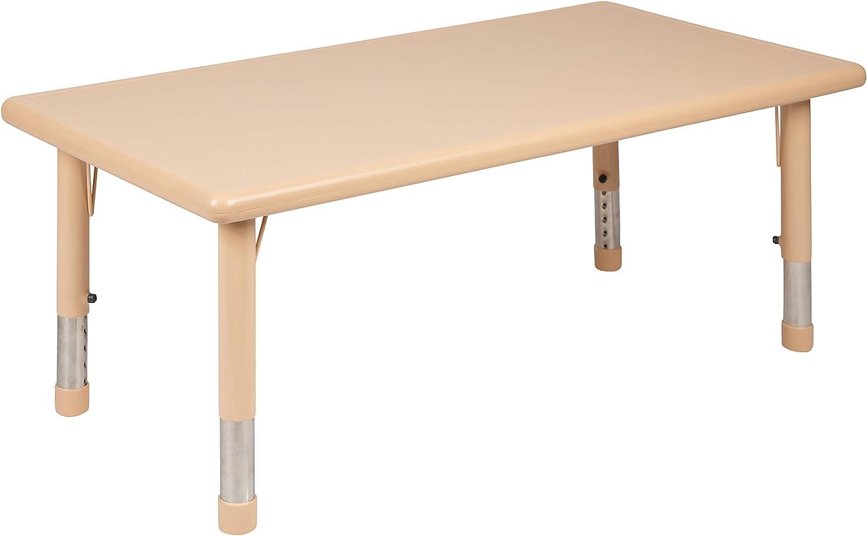 Flash Furniture 24 W X 48 L Rectangular Natural Plastic Height Adjustable Activity Table Furniture Decor