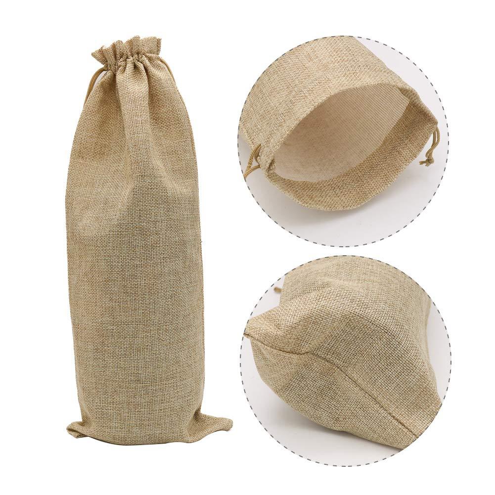1.5L, marr/ón 16 x 6.7 pulgadas bolsas de regalo para botella de vino de arpillera con cord/ón Shintop 10 bolsas de yute para vino