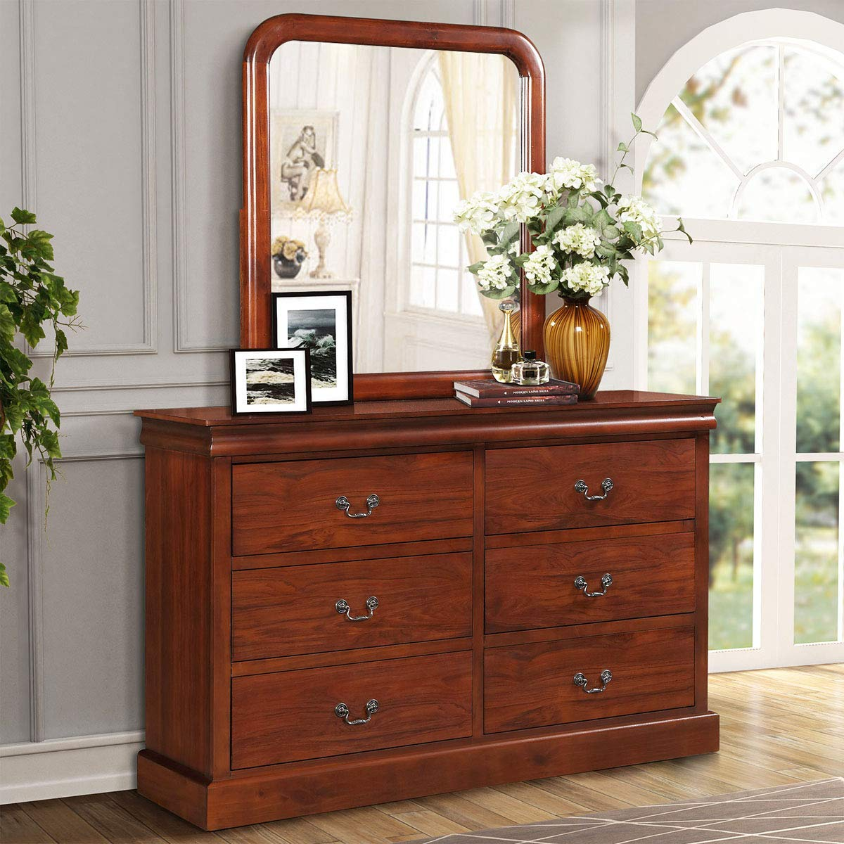Harper Bright Designs 6 Drawer Double Dresser Wood Dressing Table With Mirror Bedroom Organizer Cabinet Chest Walnut Finish