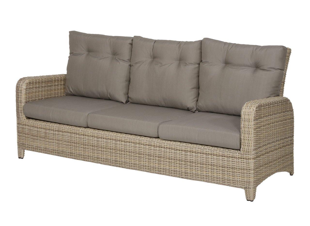 lifestyle4living Gartenbank 3 Sitzer aus Polyrattan Geflecht beige inkl. Kissen in grau. Die Loungebank ist wetterfest, ideal für Garten, Terrasse und Balkon.