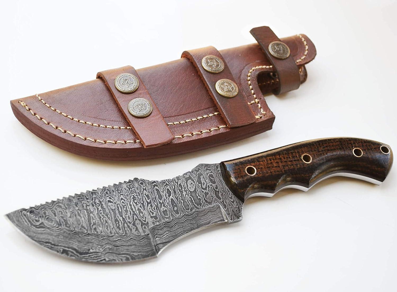 Amazon Com Whole Earth Supply Ladder Damascus Tracker Knife Hunting Knives Black Brown Micarta Sheath Sports Outdoors