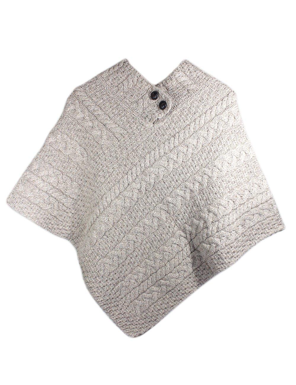 Fisherman Knit Poncho 100% Merino Wool Natural by Carraig Donn (Image #2)