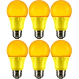 Sunlite A19/3W/Y/LED/6PK LED Colored A19 3W Light Bulbs with Medium (E26) Base (6 Pack), Yellow