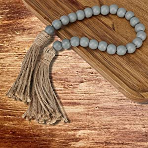 O-heart Wooden Bead Garland with Tassels, Farmhouse Decorative Wooden Beads, Natural Wood Bead Garland Tiered Tray Decor, Boho Table Decor Neutral Home Decor Rustic Beads (Light Grey)