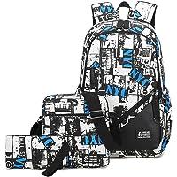 Mioy Tres piezas set adolescentes mochilas escolares lona estampados mochila Hombres 15 Pulgadas ordenador portatil…