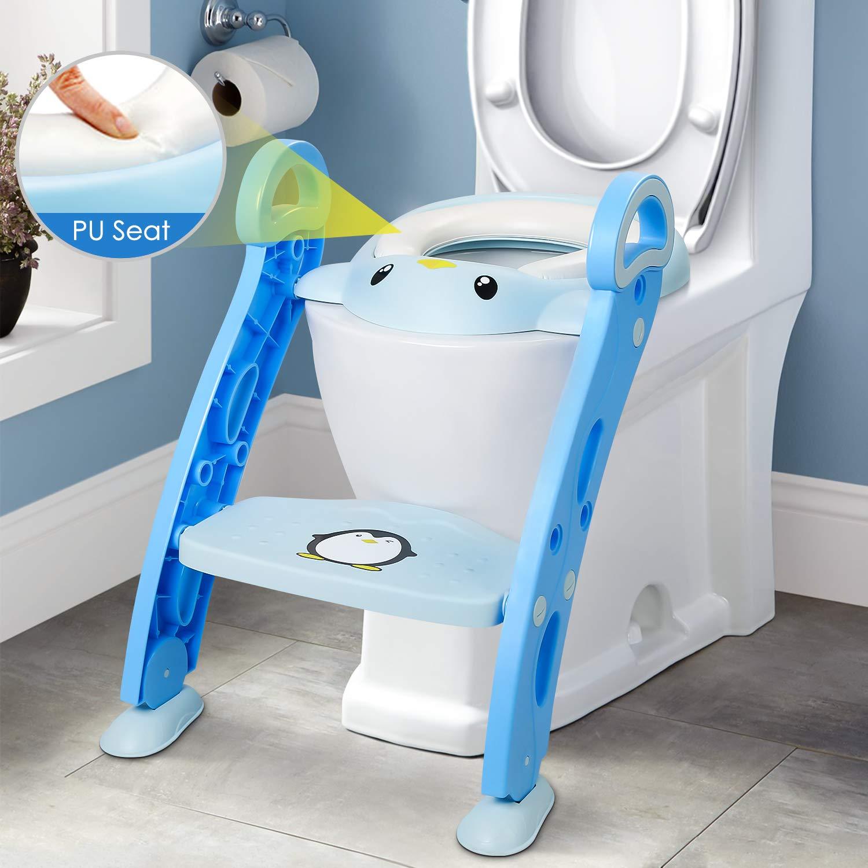 Amzdeal Asiento WC Escalera para Niñ o Aseo Asiento para Bebes con Escalera Plegable Asiento Escalera Adaptador de wc Orinal Formació n Bebé