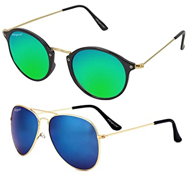 224f68b4c72a0 Elegante UV Protected Stylish Couple Combo of Blue Mirrored Round and Aviator  Sunglasses for Men and