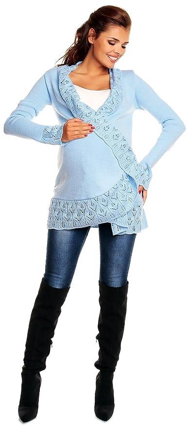 Zeta Ville Premamá - Cárdigan Cruzado - Ribete de Crochet - para Mujer 406c (Azul Claro, One Size EU 38/40/42,) : Amazon.es: Ropa y accesorios