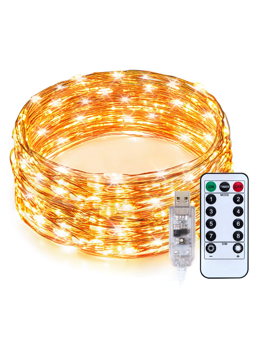 TaoTronics LED String Lights, 33ft 100 LEDs USB Powered Warm White Dimmable Copper Wire String Lights,8 Lighting Modes,15 brightness levels, Remote Control, IP65 Bendable Decorative Lights