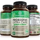 PlantOrigin - Probiotics Extra Care 40 Billion CFU's With Maktrek For Men & Women - 60 Vegetarian Capsules - Guaranteed Shelf-Life Potency