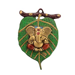 eCraftIndia Lord Ganesha on Leaf White Metal Wall Hanging (15 cm x 1.25 cm x 22.5 cm)
