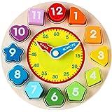 Lernuhr aus Holz,Goldbeing 12 farbenfrohe Zahlen-Bausteine zum Einsortieren Holzspielzeug / Kleine Lernuhr Uhrzeit lernen Kinderlernuhr aus Holz,Durchmesser: 22 cm