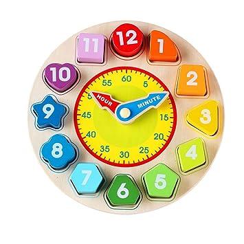 OFKPO Kinder Lernuhr aus Holz,12 Farbenfrohe Zahlen Bausteine Uhr Spielzeug