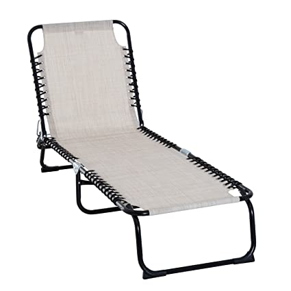 Swell Outsunny 3 Position Reclining Beach Chair Chaise Lounge Folding Chair Cream White Gamerscity Chair Design For Home Gamerscityorg