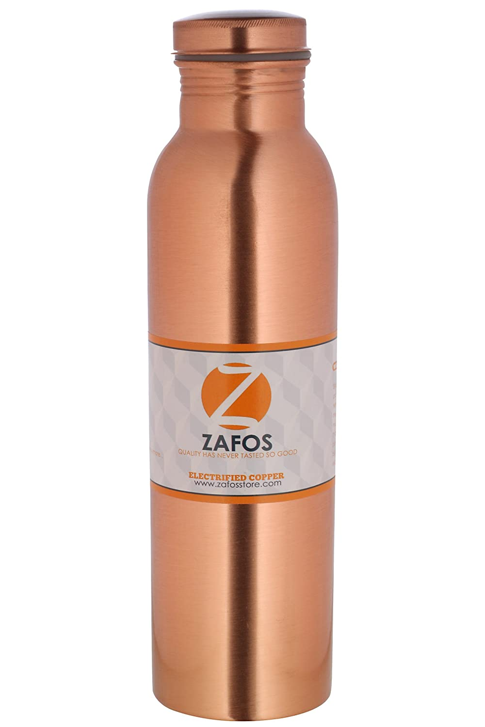 Zafos Copper Water Bottle, 1 Litre, Brown (PlainCopper-1L)