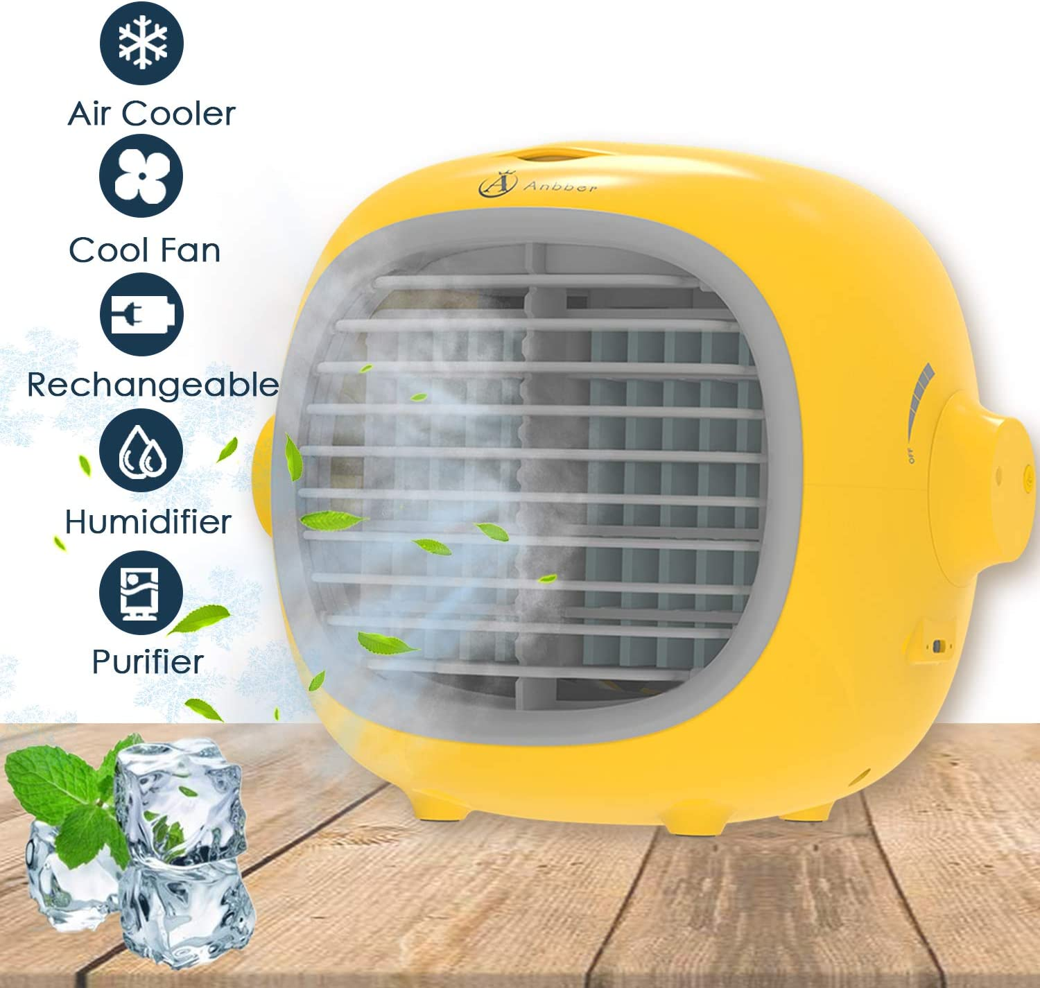 Portable Air Conditioner,Portable Cooler,Suitable for Bedside, Office and Study Room.Three Wind Level Adjust Small Desktop Fan,Quiet Personal Table Fan Mini Evaporative Air Circulator Cooler