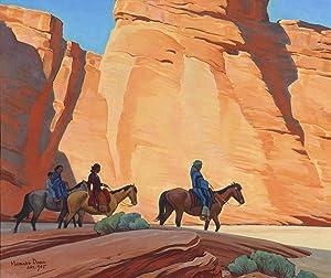 Berkin Arts Maynard Dixon Giclee Print On Canvas-Famous Paintings Fine Art Poster-Reproduction Wall Decor(Dixon Navajos in A Canyon) #XFB