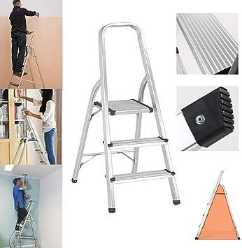 Escalera plegable de aluminio resistente, escalera compacta para el hogar, decoración, pintura, portátil, fácil almacenamiento con escalones antideslizantes de seguridad, carga máxima de 150 kg: Amazon.es: Bricolaje y herramientas