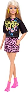 Barbie Fashionistas Doll #155 with Blond Hair with Rock Tee and Skirt, Toy for Kids 3 to 8 Years Old
