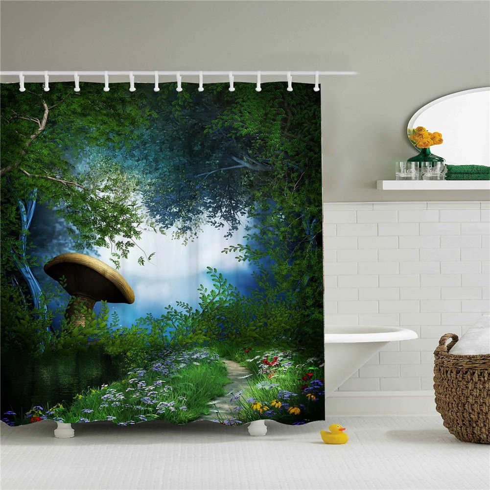Wings The golden mushroom in the forest, bathroom shower curtain 3D printing - Waterproof, Mildew resistant, Machine Washable - Shower Hooks are Included