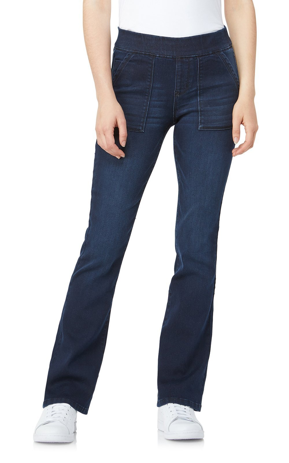 WallFlower Women's Juniors Elastic Waistband Pull On Bootcut Jeans in Moody Blue, Small