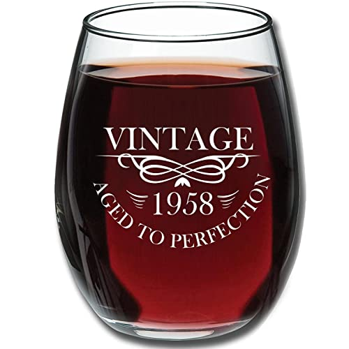 1958 60th Birthday 15oz Stemless Wine Glass For Women And Men