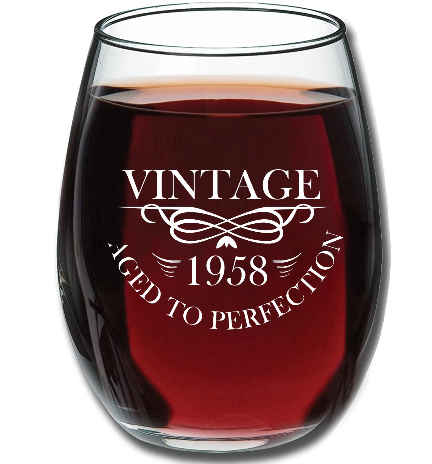 1958 60th Birthday 15oz Stemless Wine Glass for Women and Men - Vintage Aged To Perfection - 60th Wedding Anniversary Gift Idea for Him, Her, Parents - 60 Year Old Presents for Mom, Dad, Husband, Wife by Gelid (Image #1)