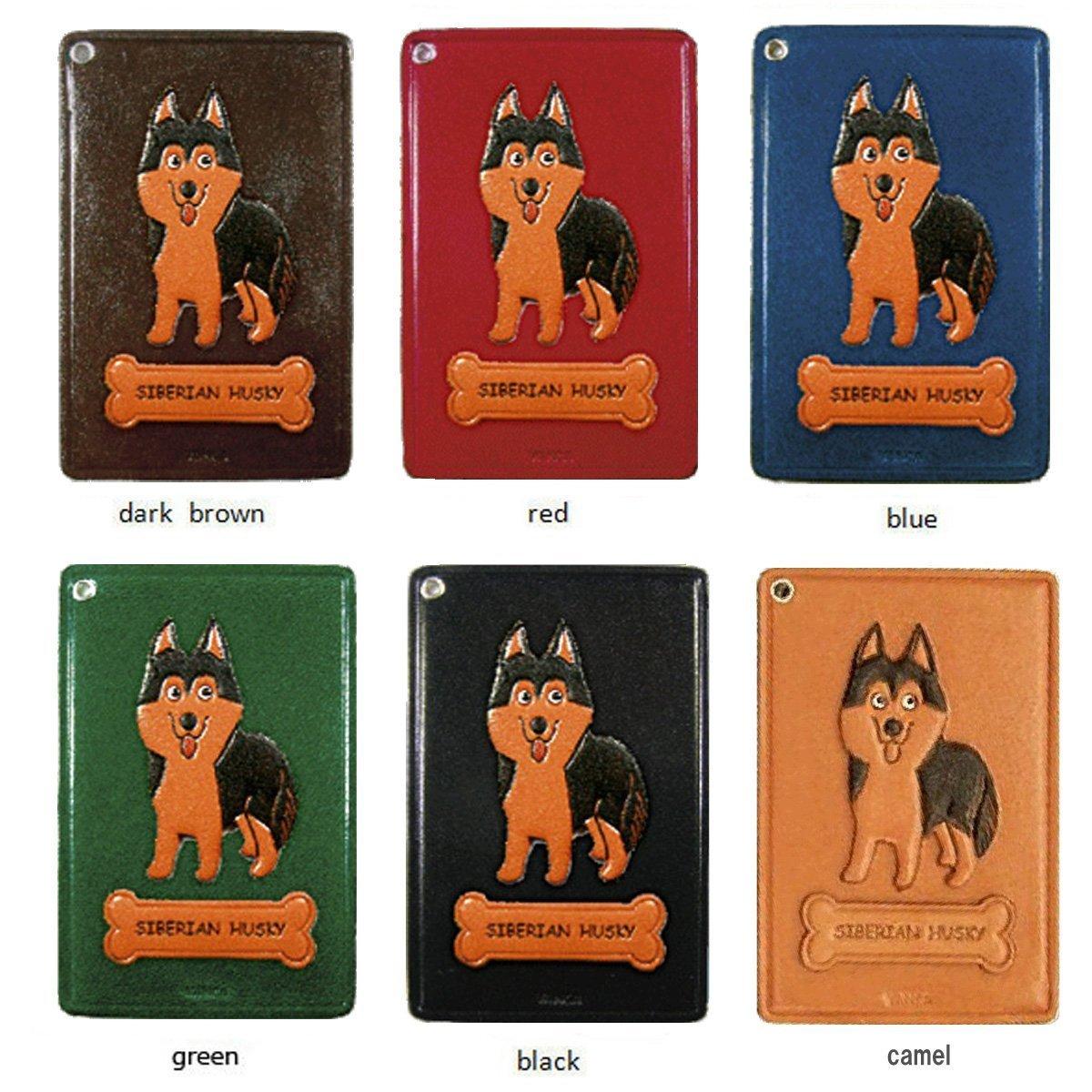 Siberian Husky Leather Dog Pass/ID/Credit/Card Holder/CaseVANCA Handmade in Japan