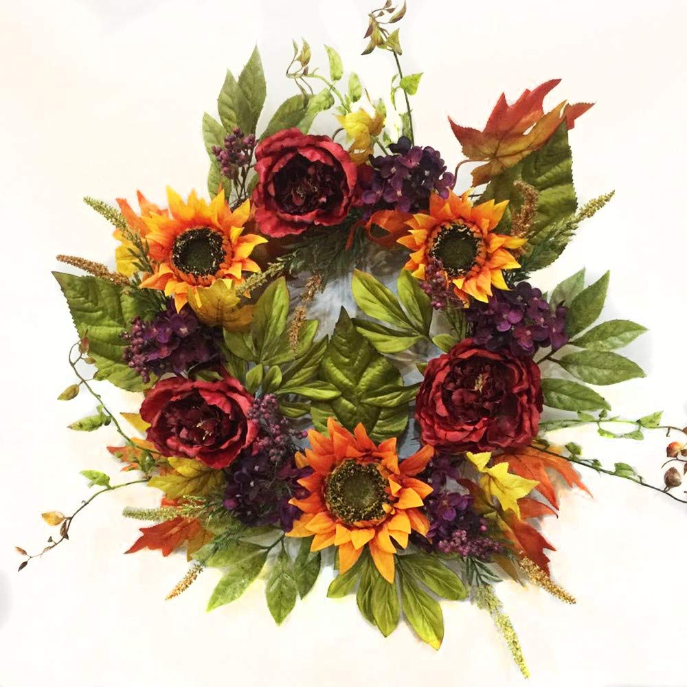 Wreaths For Door Spark of Autumn Peony Sunflower Summer Door Wreath Indoor Outdoor Use Though Fall Orange Sunflowers Purple Hydrangea Berries Burgundy Peonies 22 Inch by Wreaths For Door