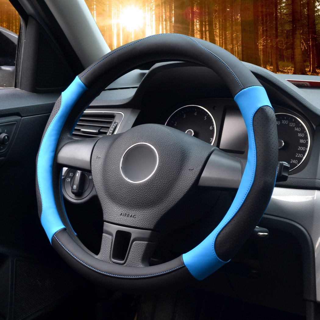 35.5-36cm LucaSng Auto Steering Wheel Cover,Diameter 14 inch ,PU Leather,for Full Seasons,black,Size S