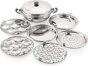 Konquer TimeS Stainless Steel Multi Kadai with 1 Steamer Plate, 1 Mini Idli Plate, 2 Idli Plates, 2 Dhokla Plates (3L) Silver