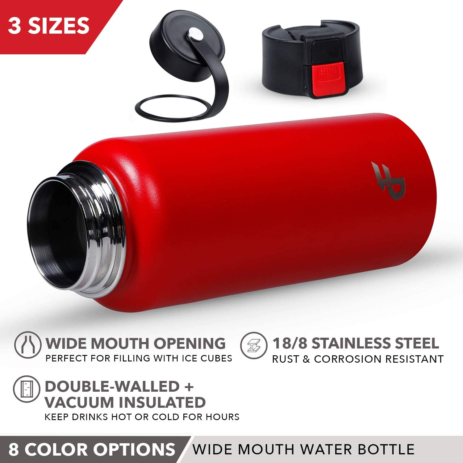 - 3 Size and 8 Color Options Powder-Coated Sweat Proof Thermos 20 oz, 32 oz, or 40 oz Vacuum Insulated Double Walled Day 1 Fitness Stainless Steel Water Bottle Wide Mouth with 2 LIDS