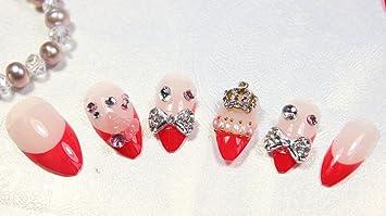 De alta calidad se envía ya-pegada de un salón de hecho a mano de cadena de clavos de esmalte de uñas de 24 piezas de color rojo de rosa y blanco doble ...
