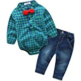 Baby Clothes Set, PPBUY Infant Boys Grid Printed Romper Tops + Pants 2Pcs Outfits Set (6M, Green)