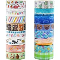 Animal Washi Tape Set, Fodeuxp 16 Rolls 15mm Wide 7 Meters Long Cute Decorative Masking Tape for Scrapbooking, Bullet…