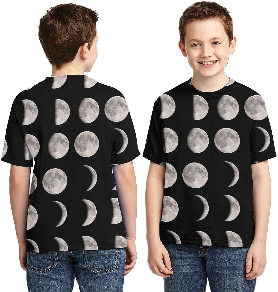 HHTZTCL Moon Phases Kids Print Graphic Tee Short Sleeve T-Shirt