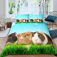 Girls Guinea Pig Bedding Set Cute Cavy Duvet Cover for Kids Boys Grassland Lovely Pet Animal Decor Comforter Cover…