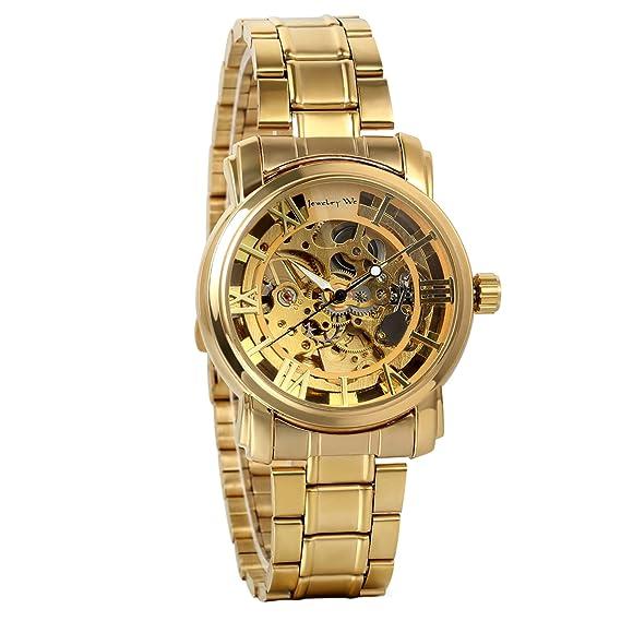 Avaner Reloj Oro Dorado de Esfera Transparente Reloj de Caballero Mecánico, Hombre Reloj de Correa de Acero Inoxidable Diseño Original: Amazon.es: Relojes